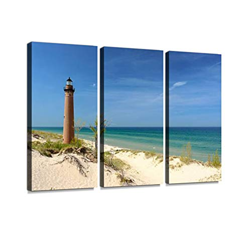 (7houarts Little Sable Point Lighthouse in Dunes, Built in 1867 Canvas Wall Artwork Poster Modern Home Wall Unique Pattern Wall Decoration Stretched and Framed - 3 Piece)