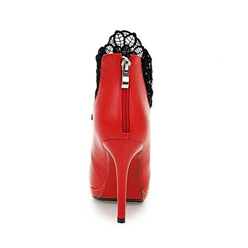 Top Solid Stilettos Zipper Womens Red AllhqFashion Pu Spikes Low Boots ZSw0I0tqxW