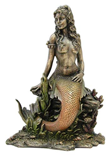 - JFSM INC Art Nouveau Mermaid on Rock - Bronze Finish Statue Sculpture Figurine