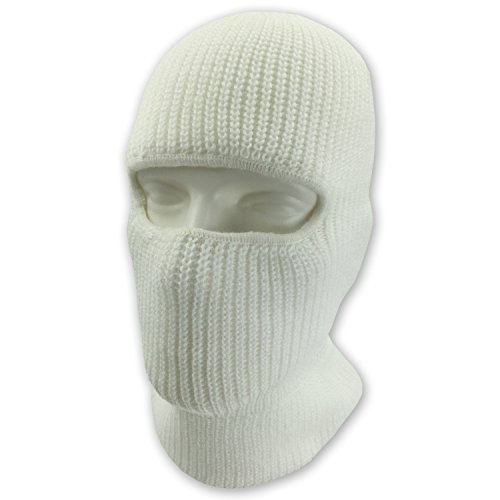 Double Layered Knitted One Hole Ski Mask - Assorted Colors Tactical Paintball Running (White) (Diamond Tactical Full Face Protection Ghost Balaclava Mask)