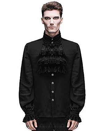 d7fc4d94d327 Devil Fashion Herren Shirt Top Schwarze Gothic Steampunk Viktorianisch Regentschaft  Aristocrat  Amazon.de  Bekleidung