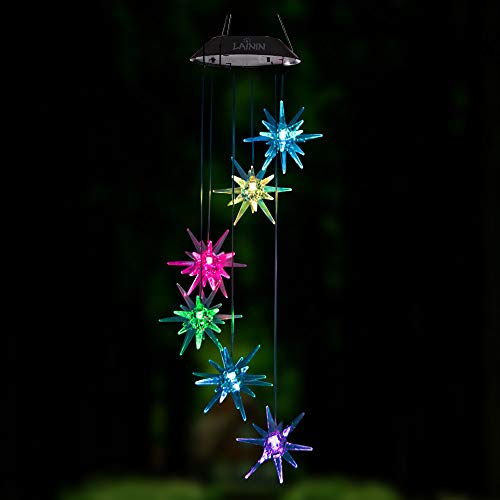 Lainin LED Solar Wind Spinner Color Changing Urchin Star Wind Chime Lamp For Home Outdoor Garden Patio