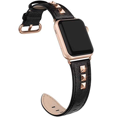 SWEES Genuine Leather Band Compatible for Apple Watch 38mm 40mm, Dressy Designer Bling Rivets Studs Bands Strap Compatible for iWatch Series 4 Series 3 Series 2 Series 1, Sports & Edition Women, Black