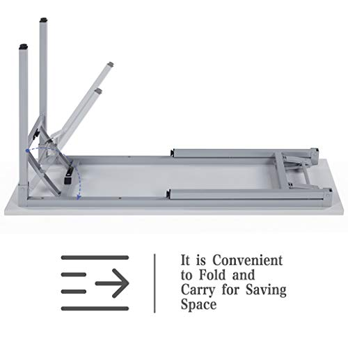 Sunon Folding Training Table 55'' Rectangle Wood Folding Table for Training/Meeting Room (White, 55-Inch Length) by Sunon (Image #3)