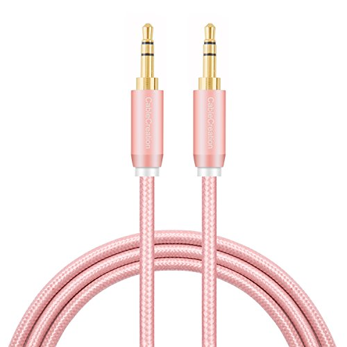 Aux Cable,CableCreation 3 Feet 3.5mm Auxiliary Audio Stereo Cable Compatible Car,Smartphones, Tablets and MP3 Player,Speakers&More 3.5mm Jack Port, Rose Gold