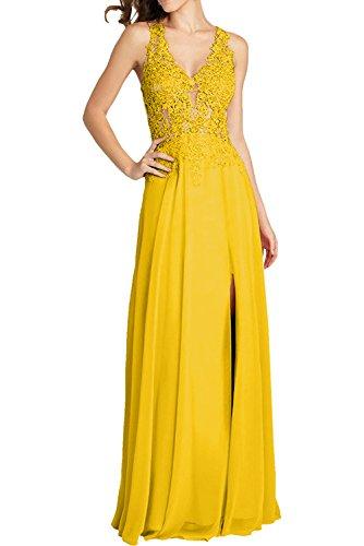 Dunkel mia Sexy Braut La Gelb Spitze Durchsichtig Ballkleider Flieder Abschlussballkleider Abendkleider Lang On4n6vW7B