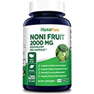 Noni Fruit 2000mg 200 Vegetarian caps (Extract 4:1, Non-GMO & Gluten Free) Powerful antioxidant, Boosts Immune System, Improves Hair & Skin Health