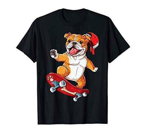 English Bulldog Skateboard T shirt Dog Skater Skateboarding ()