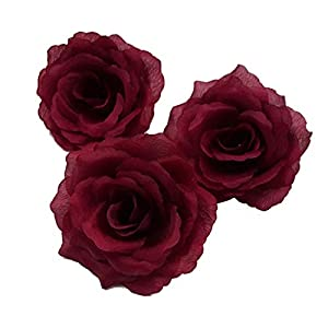Silk Flowers Wholesale 100 Artificial Silk Rose Heads Bulk Flowers 10cm for Flower Wall Kissing Balls Wedding Supplies (Dark Red)