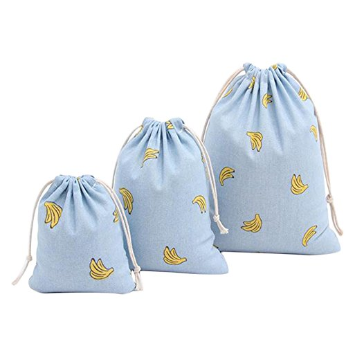 Price comparison product image Yonger Banana Drawstring Backpack Gift Sacks Storage Pouch Cloth Drawstring Travel Bag Linen Bags Blue 3pcs