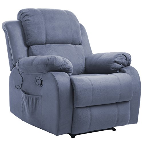 Merax Suede Heated Massage Recliner Sofa Chair Ergonomic Lounge with 8 Vibration Motors, Grey (Chair Upholstered Suede)