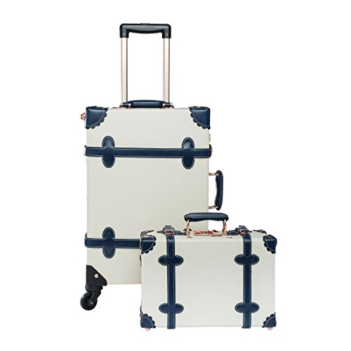 UNIWALKER Vintage Luggage Sets Trolley Suitcase with 13'' Hand Bag (13&22'', Moon white) by UNIWALKER
