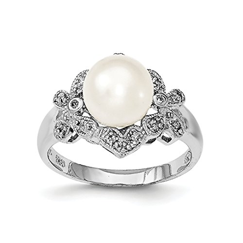 Akoya Brooch Pearl (925 Sterling Silver 9mm White Freshwater Cultured Pearl Cubic Zirconia Cz Band Ring Size 8.00 Fine Jewelry Gifts For Women For Her)