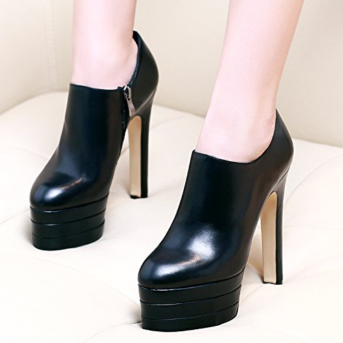 SDKIR-The fall of Europe high heels female fine with waterproof shoes shoes all-match deep black tide Thirty-five black