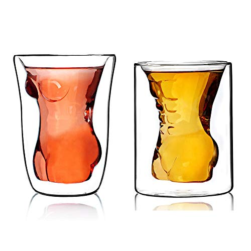 Wine Glasses for Father's Day Gift,2 Pack 6oz Male and Female Shaped Shot Glasses,Creative Durable Dual Layered Borosilicate Tumbler Mug/Shooters,Drinking Cup for Tequila Vodka Whiskey Beer Espresso