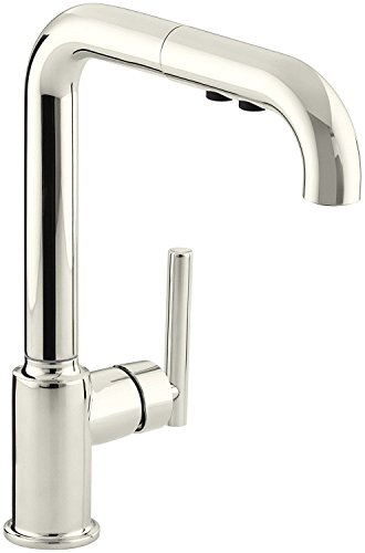 KOHLER K-7505-SN Purist Primary Pullout Kitchen Faucet, Vibrant Polished Nickel (Polished Compact Nickel)
