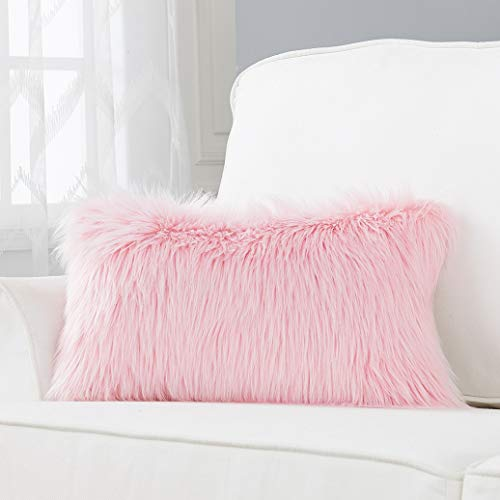 Foindtower Lumbar Fluffy Faux Fur Square Decorative Throw Pillow Cover Plush Soft Cushion Cover Pillowcases for Livingroom Couch Sofa Nursery Bed Home Decor 12x20 Inch (30x50cm) Pink 1 - Nursery 12 Piece
