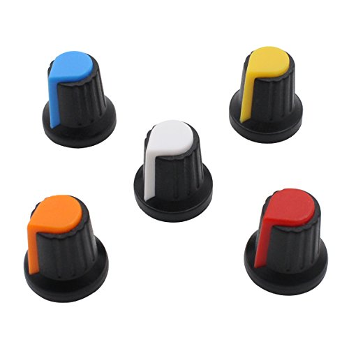 HELLOYEE Knurled Shaft Hole Plastic Potentiometer Amplifier Knob 6mm Sound Cap Volume Control (Pack of 50, 5 (Knob Cap)
