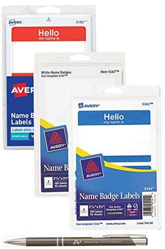 (3-Pack Bundle Avery Adhesive Name Badge Labels, Blue, Red, White, 300 Total Badges with Bonus AdvantageOP Custom Retractable Pen)