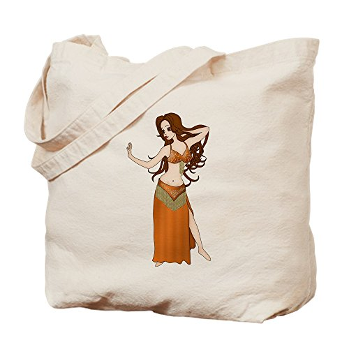 Made To Measure Belly Dance Costumes (CafePress - Cute Brunette Haired Bellydancer In Orange And Gol - Natural Canvas Tote Bag, Cloth Shopping Bag)