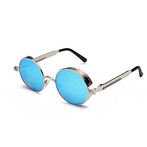 Gafas sol retro Lente de círculo de de Azul Plateado de metal de sol Gafas Marco moda color de Huicai 6OqgPAx