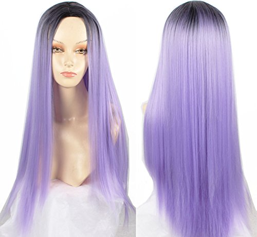 Big Curly Hair Costumes (Beshiny 28'' 70cm Women Long Big Wavy Curly Hair Halloween Cosplay Party Costume Wig (Long Straight Purple))