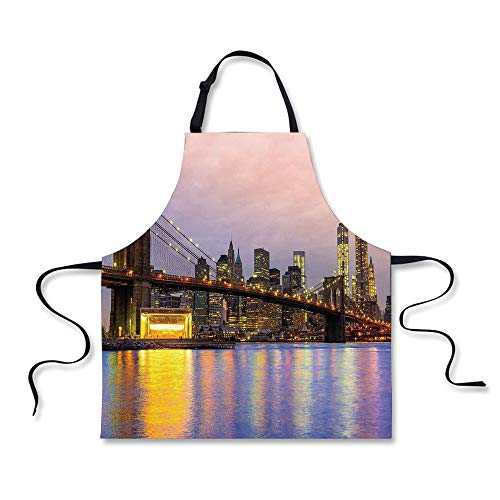 iPrint Cooking Apron,Modern,Sunrise Time at Manhattan Silhouette with Dramatic Lights New York Scene,Baby Pink Lilac Yellow,3D Print Apron.29.5