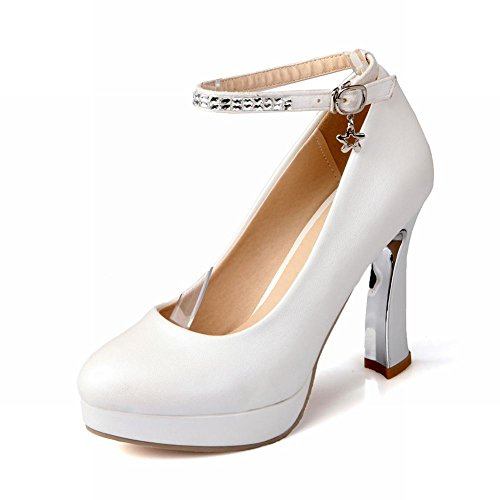 Charm Foot Basic Classic Platform High Heel Stiletto Mary Jane Pump White 8fSPyQ336