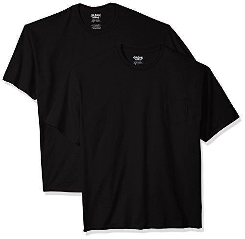 Gildan Men's 2-Pack Workwear Pocket T-Shirt-Big Sizes, Black, - Blend Work Shirt