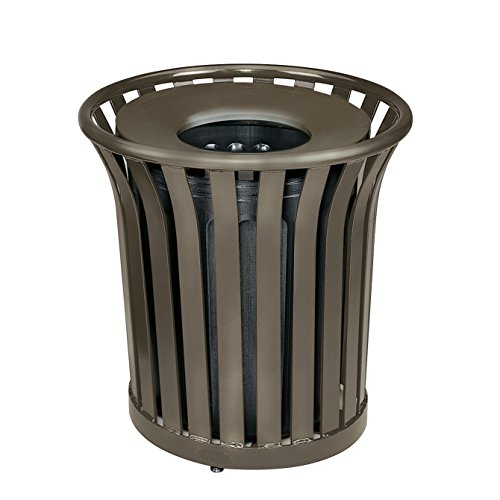 Rubbermaid Commercial Americana Trash Can with Rigid Plastic Liner, 36 Gallon, Bronze, FGMT32PLABZ (Funnel Top Receptacle)