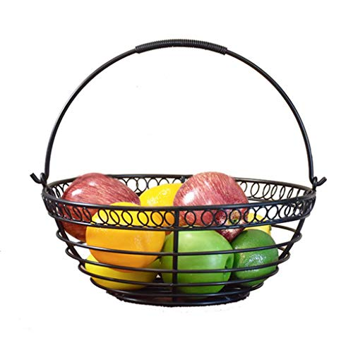 (Snack Dip Bowls Dishware Metal Fruit Basket, Black Wrought Iron Shopping Basket, Three-color Candy Snacks, Fruit Bowl, Vegetable Rack, Vegetable Drain Basket kitchen (Color : Black))