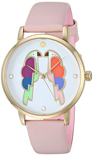 kate spade new york Women's Stainless Steel Quartz Watch with Leather Strap, Beige, 15.5 (Model: KSW1521)
