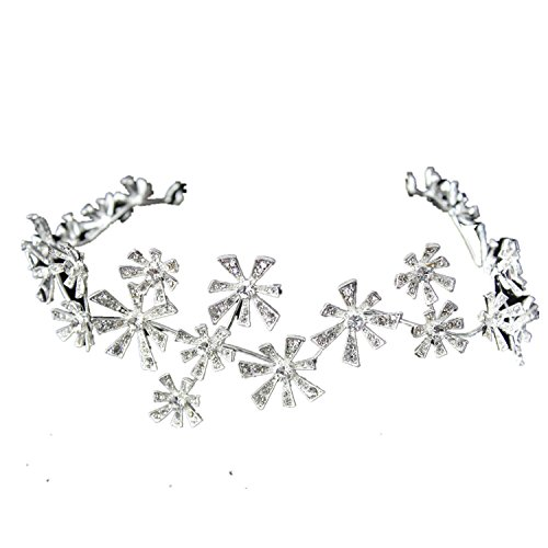Price comparison product image Wiipu Wedding Bridal Crystal Flower Crown Tiara Hair Accessories Headband(A1707) (silver)