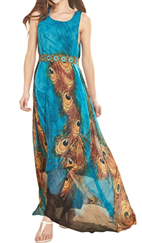 Wantdo Women's Peacock Printed Bohemian Summer Maxi Dress US 16