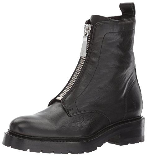 FRYE Women's Julie Front Zip Combat Boot, Black Polished Soft Full Grain, 10 M US