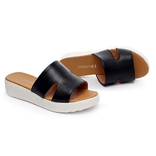 Btrada Dames Casual Sandalen Antislip Zomer Outdoor Platte Schoenen Strand Slippers Zwart
