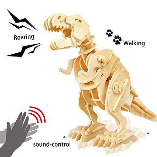 (ROKR 3D Wooden Puzzle-Robotic Dinosaur Toys,Sound Controlled Walking T-Rex Jigsaw Puzzle Engineering Toy,Building Model Wood Craft Kit,Brain Teaser Games,Birthday Gift for Boys,Kids and Adults)