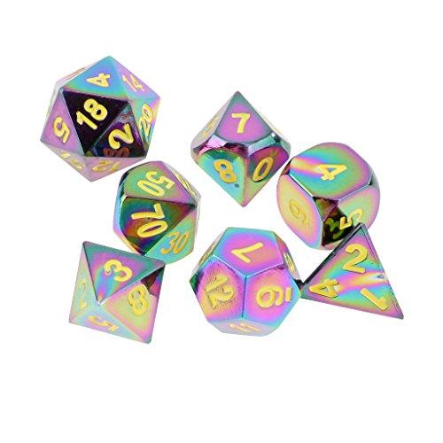 Jiliオンラインのセット7レインボー亜鉛合金multi-sided Diceイエロー番号のボードカードパーティーゲームアクセサリー0.62インチの商品画像