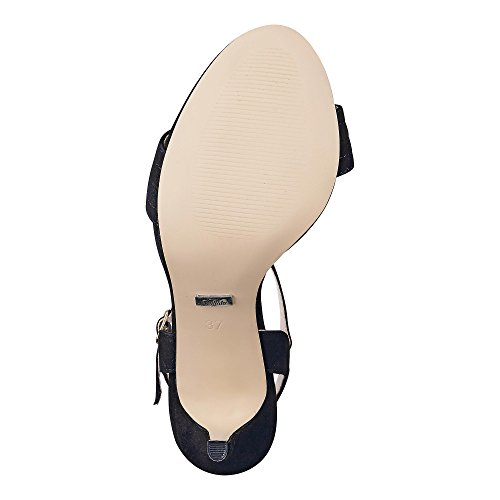 Buffalo London 15bu0115 Sandalo Da Bambina In Pelle Di Cavallino Nero 01
