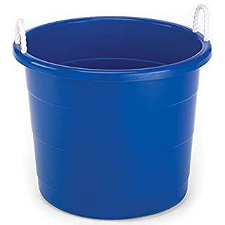 Homz Plastic Utility Tub with Rope Handles, 17 Gallon, Cobalt Blue, Set of 2
