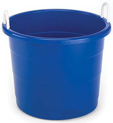 Homz Plastic Utility Tub with Rope Handles, 17 Gallon, Cobalt Blue, Set of 2 -