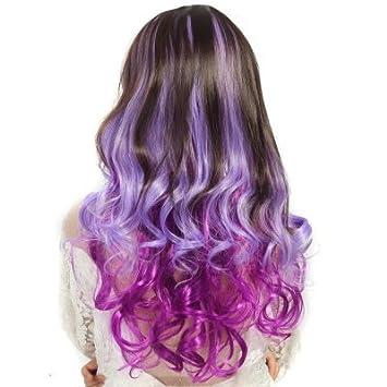 Wig Farbverlauf Lange Lockige Haare Weibliche Perücke Farbe