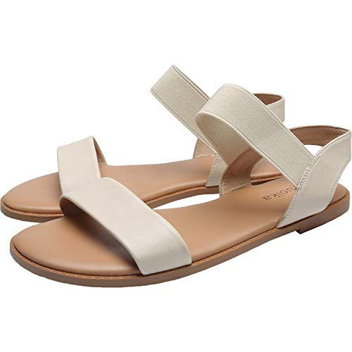 (Women's Wide Width Flat Sandals - Classic One Band Elastic Strap Comfortable Summer Shoes.(181118,Beige,9.5))