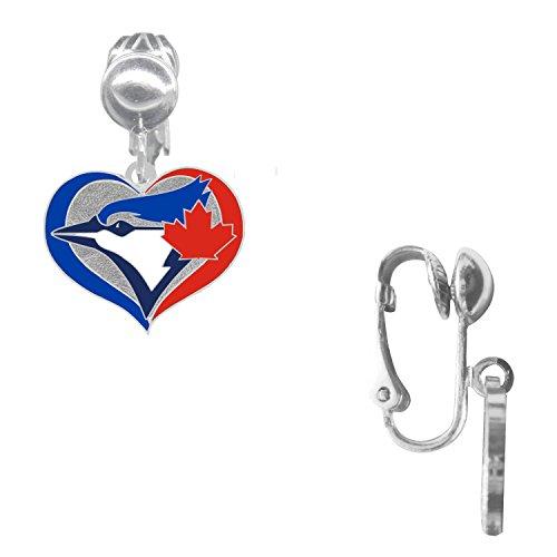 (Final Touch Gifts Toronto Blue Jays Swirl Heart Earrings Clip-On)