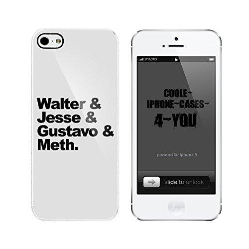 Iphone 5 / 5S Schutzhülle Walter & Jesse & Gustavo & Meth - weisser Rahmen