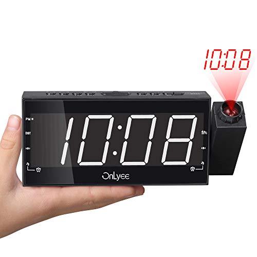 OnLyee Projection Clock, AM FM Radio Alarm Clock, Bedroom Desk Wall Ceilling Clock, 7 Large Digit Clock, 3 Dimmer Options, Dual Alarm, USB Charging Port, Battery Backup