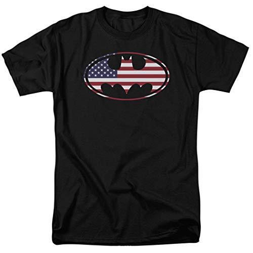 Batman Logo Shirt - Popfunk Batman Patriotic Logo USA Flag T Shirt (Large) Black