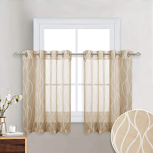 KGORGE Faux Linen Patterned Sheer - Eyelets Top Country Style Design Translucent Printed Voile Drapes with Contemporary Moire Desin for Guest Room/Villa, Almond Beige, 52