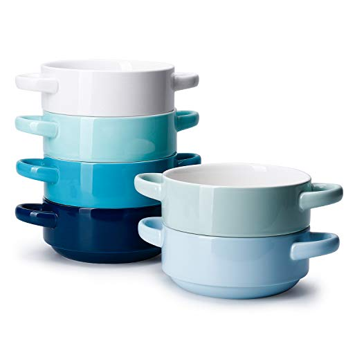 Sweese 108.003 Porcelain Bowls with Handles - 20 Ounce for Soup, Cereal, Stew, Chill, Set of 6, Cool Assorted Colors