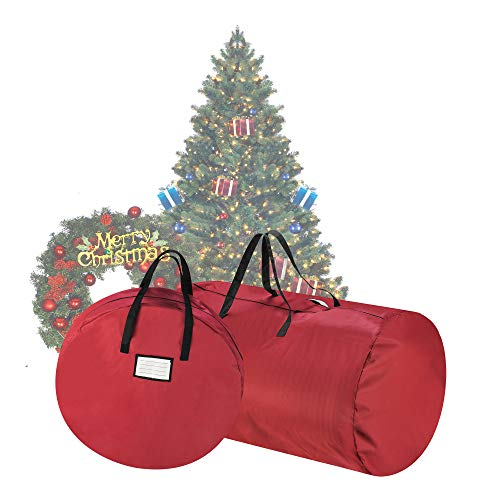 (Home 83-DT5529 5086 Tiny Tim Totes Premium Red Canvas Christmas Tree Storage 30